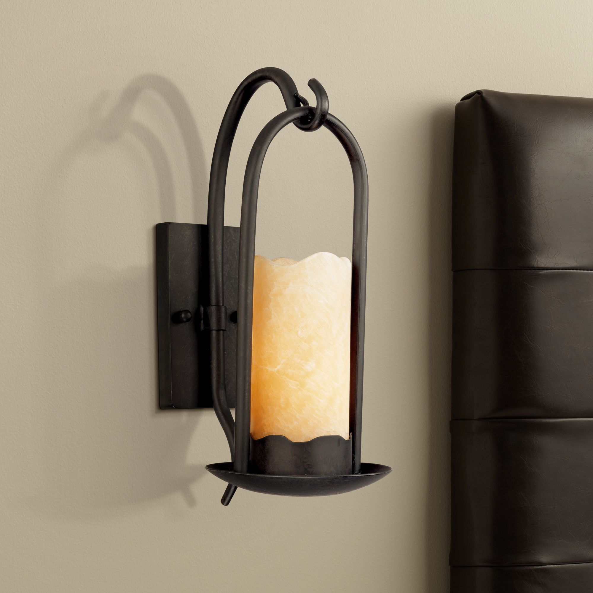 Franklin Iron Works Hanging Onyx Faux Candle Wall Sconce