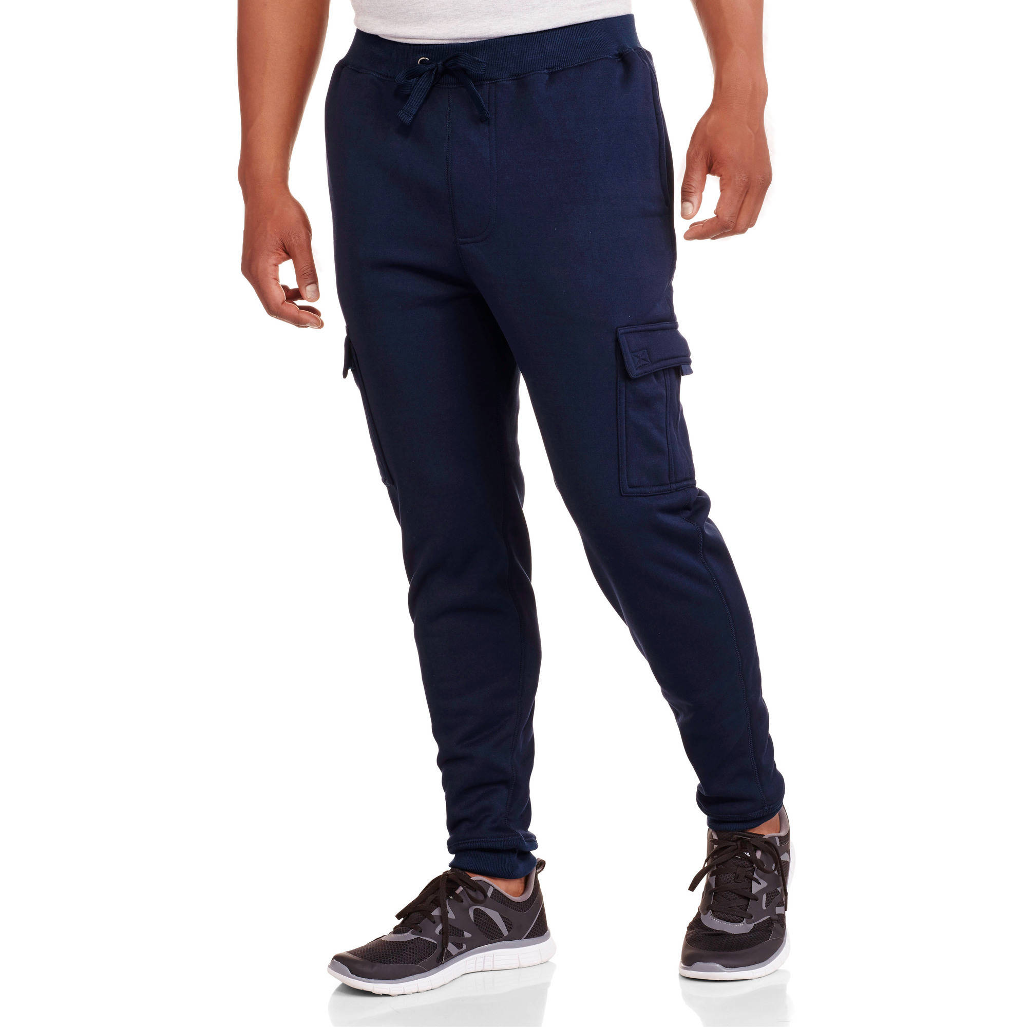 Big Men's Elastic Waist Solid Fleece Cargo Pant