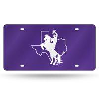 Tarleton State Texans NCAA Purple Mirrored Laser Cut License Plate Laser Tag
