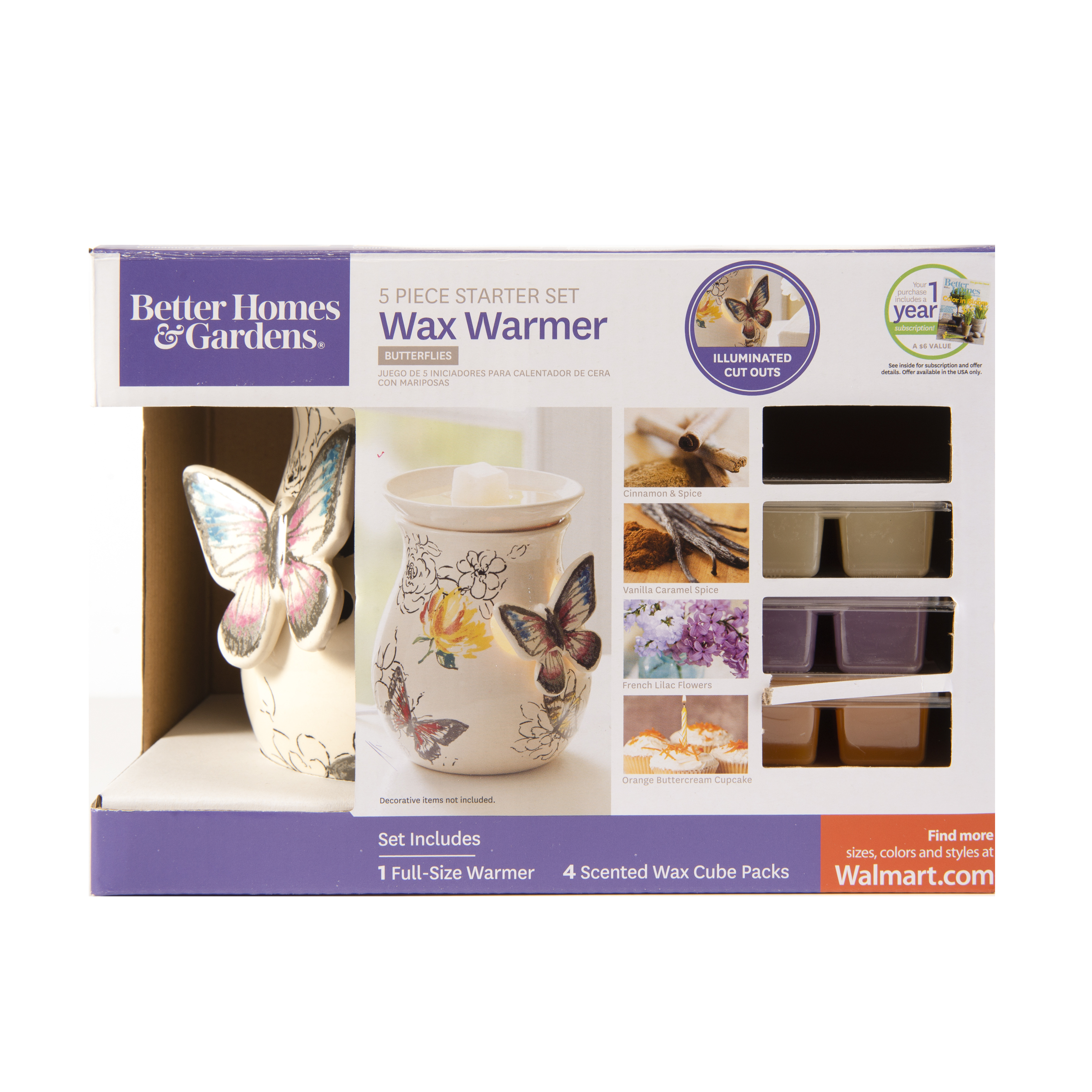 Better Homes & Gardens Butterflies Full-Size Wax Warmer Starter Set