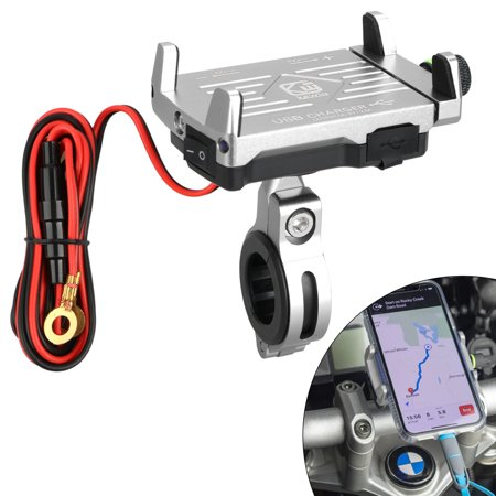 2 in 1 Motorcycle Phone Mount, Aluminum Alloy Motorbike Phone Holder with USB Charger Socket Outlet 5V/2.5A for iPhone 11/11 Pro XR Xs Max Xs X 8 7 6 Plus Samsung Galaxy S10 S9 S8 S7 S6 Plus 550 Motorcycle Mount