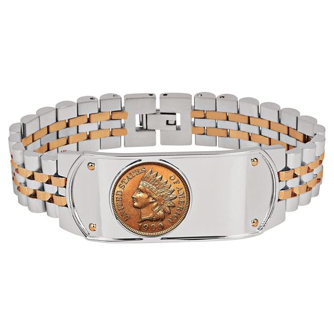UPM Global 15231 8.5 in. Mens Two-Tone Stainless Steel Bracelet with Indian Head Penny Coin - image 1 de 1