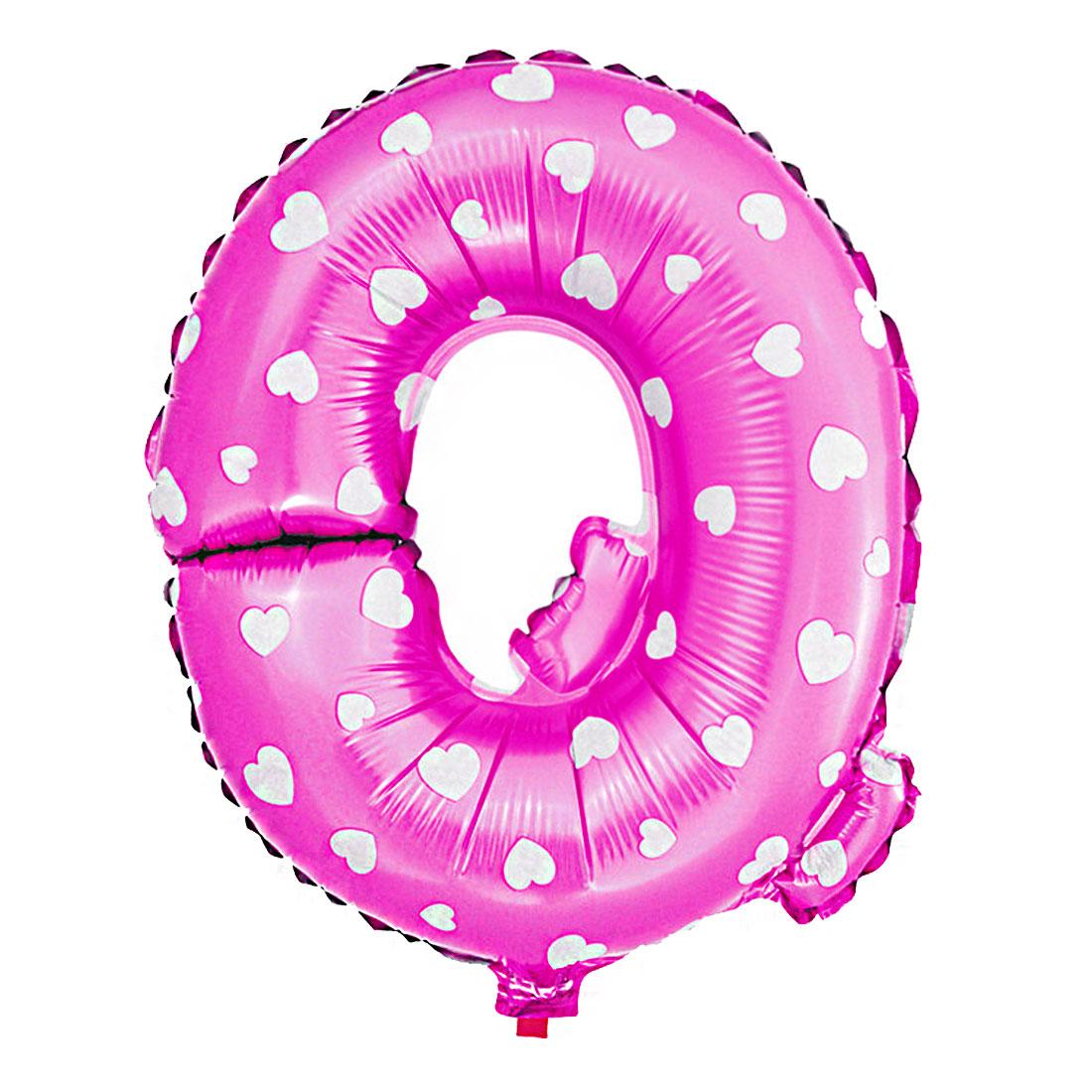 Foil Letter Q Heart Pattern Helium Balloon Birthday Wedding Decor Fuchsia 16