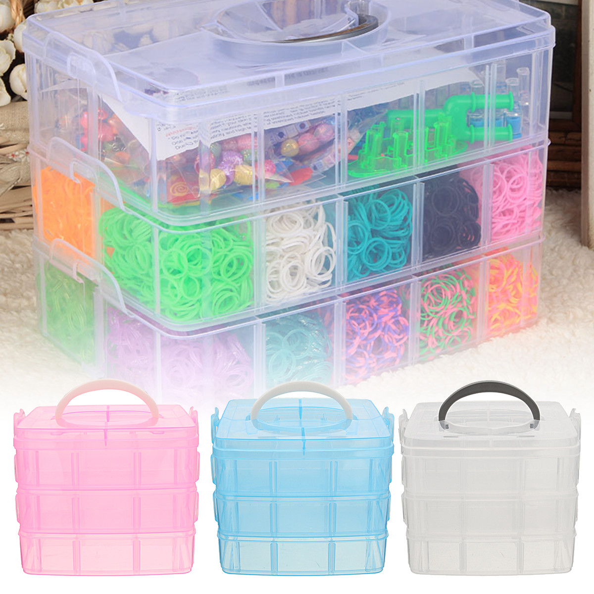 Meigar 3 Tier Stackable Sewing Embroidery Organizer Plastic Jewelry