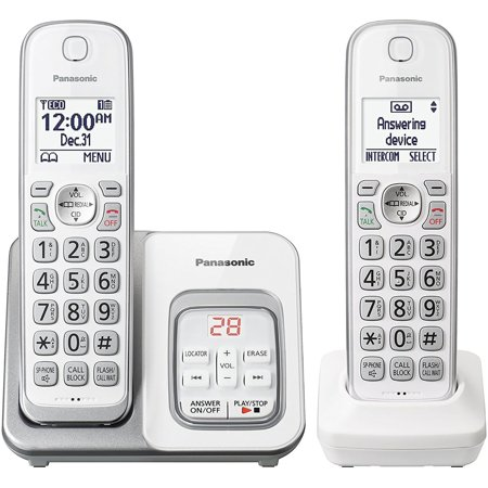 - Panasonic KX-TGD532W Expandable Cordless Phone with Call Block and Answering Machine - 2 Handsets