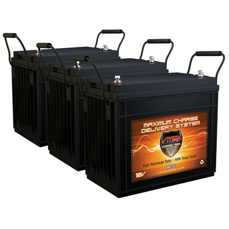 QTY3 VMAX MR147-155 12V 155AH AGM Deep Cycle Batteries for MotorGuide X5-105FW Foot Control Bow Mount 105lb 36V Trolling Motor