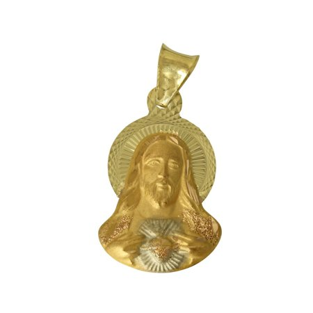 14K Real 3 Color Yellow White Rose Gold Diamond Cut Jesus Sacred Heart Stamp Small Charm
