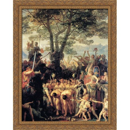 - Romans Under the Yoke 28x34 Large Gold Ornate Wood Framed Canvas Art by Charles Gleyre