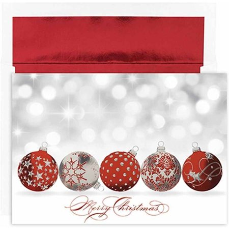 JAM Paper Christmas Card Set, Sparkling Ornaments, 16 Cards and ...