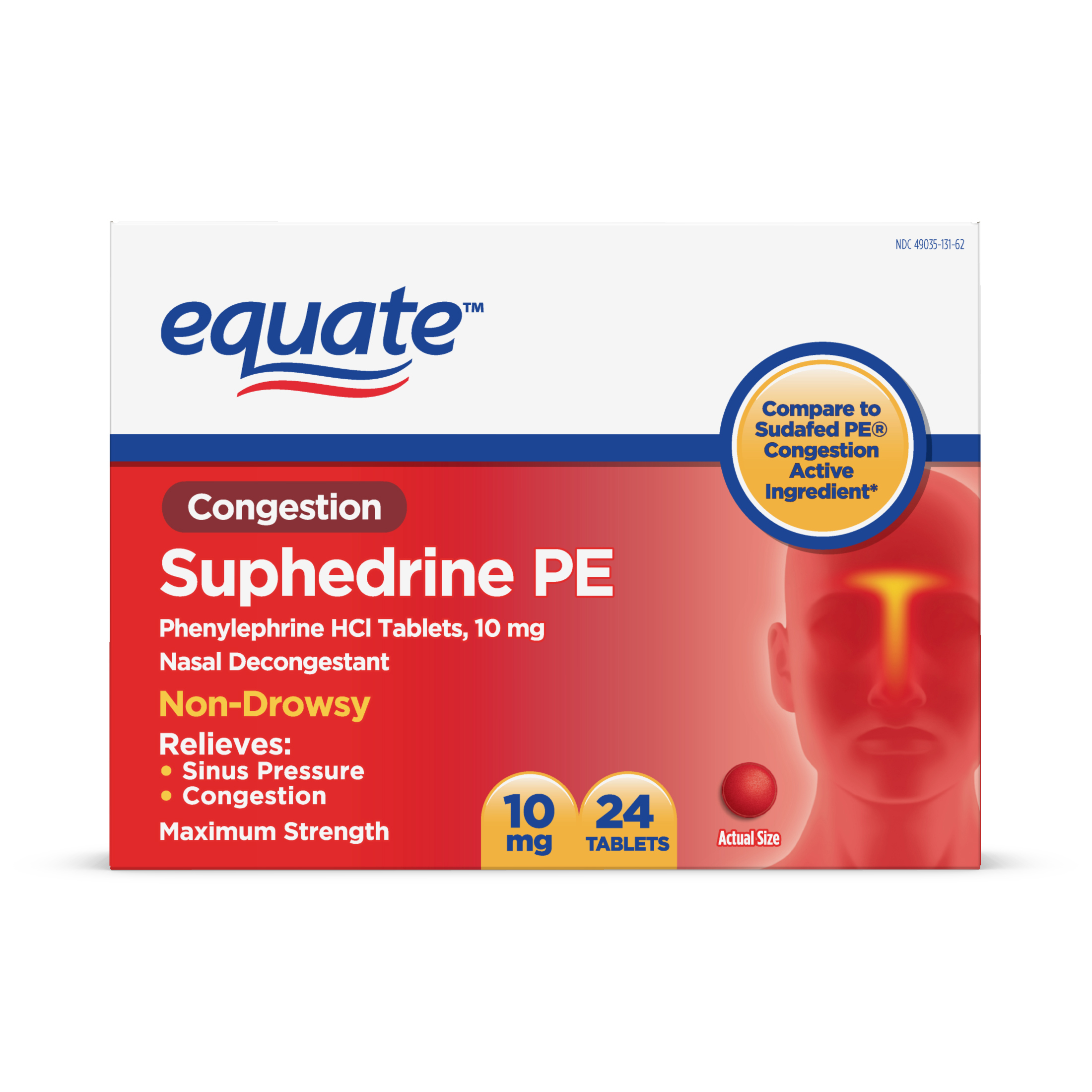 Equate Congestion Suphedrine PE Tablets, 10 mg, 24 Ct