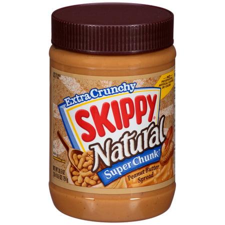 SKIPPY Extra Crunchy Natural Super Chunk Peanut Butter Spread 26.5 oz. (Natural Peanut Butter Skippy)