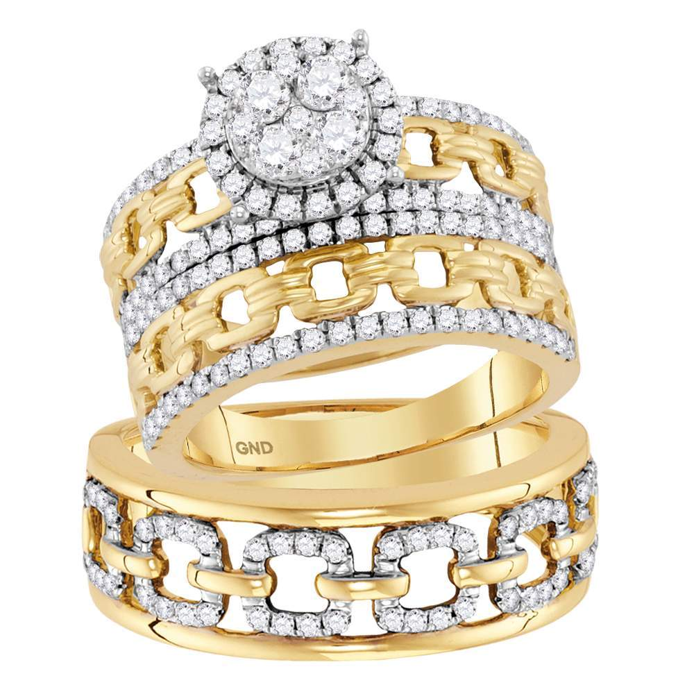 14kt Yellow Gold His & Hers Round Diamond Cluster Matching Bridal Wedding Ring Band Set 1-3 8 Cttw by