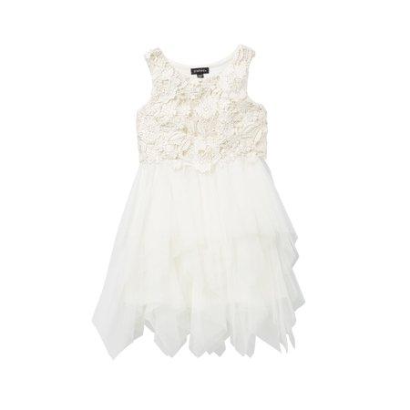 Fairy Tale Chiffon Dress (Girls Dress Crochet Lace Fairy-Tale Tulle)