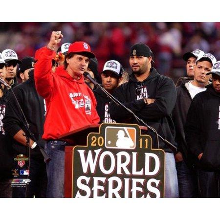 Tony LaRussa & Albert Pujols 2011 MLB World Series Victory - Tony Larussa World Series
