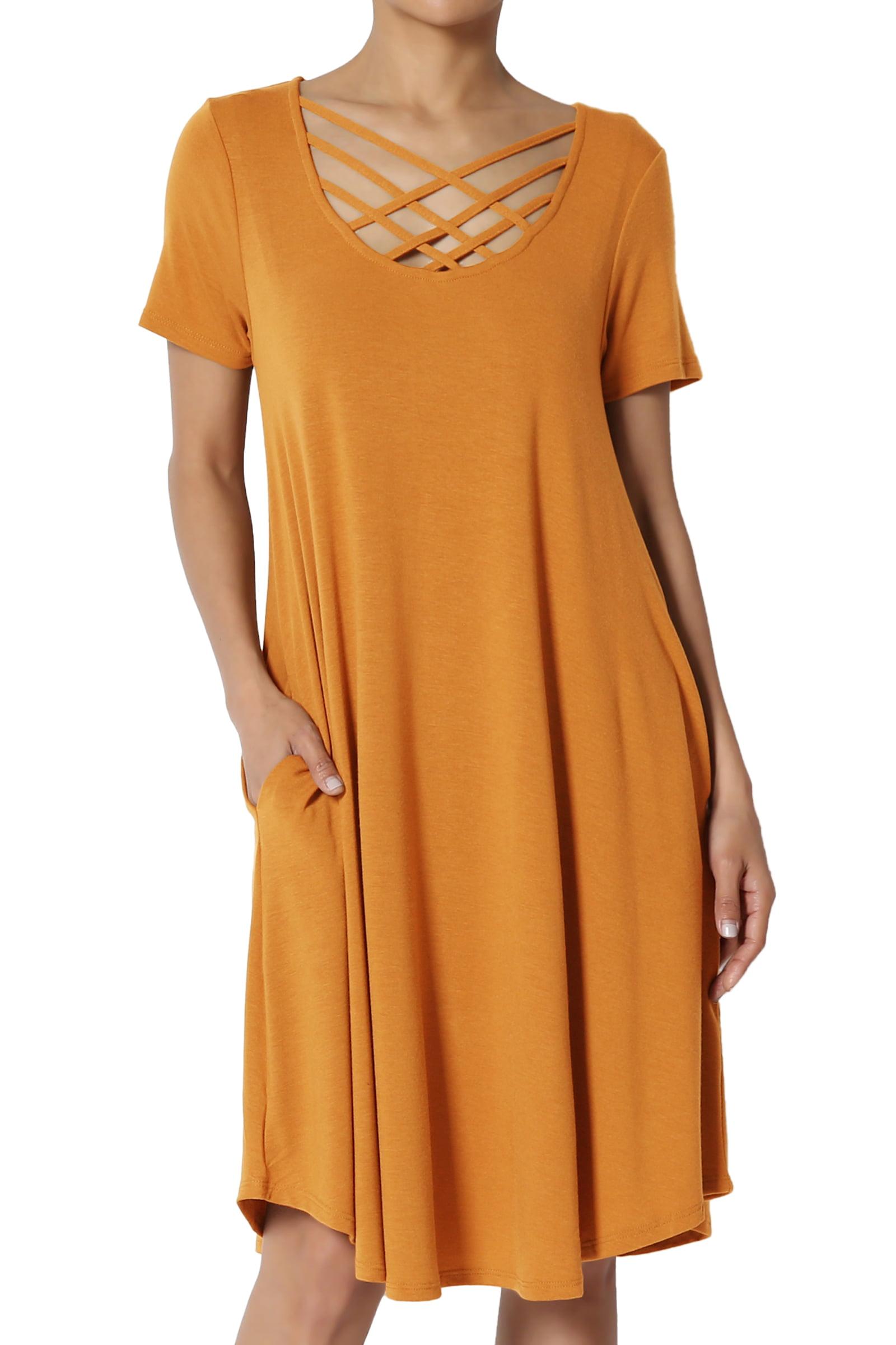 TheMogan Women's Crisscross Lattice Scoop Neck Short Sleeve Flare Pocket Tee Dress