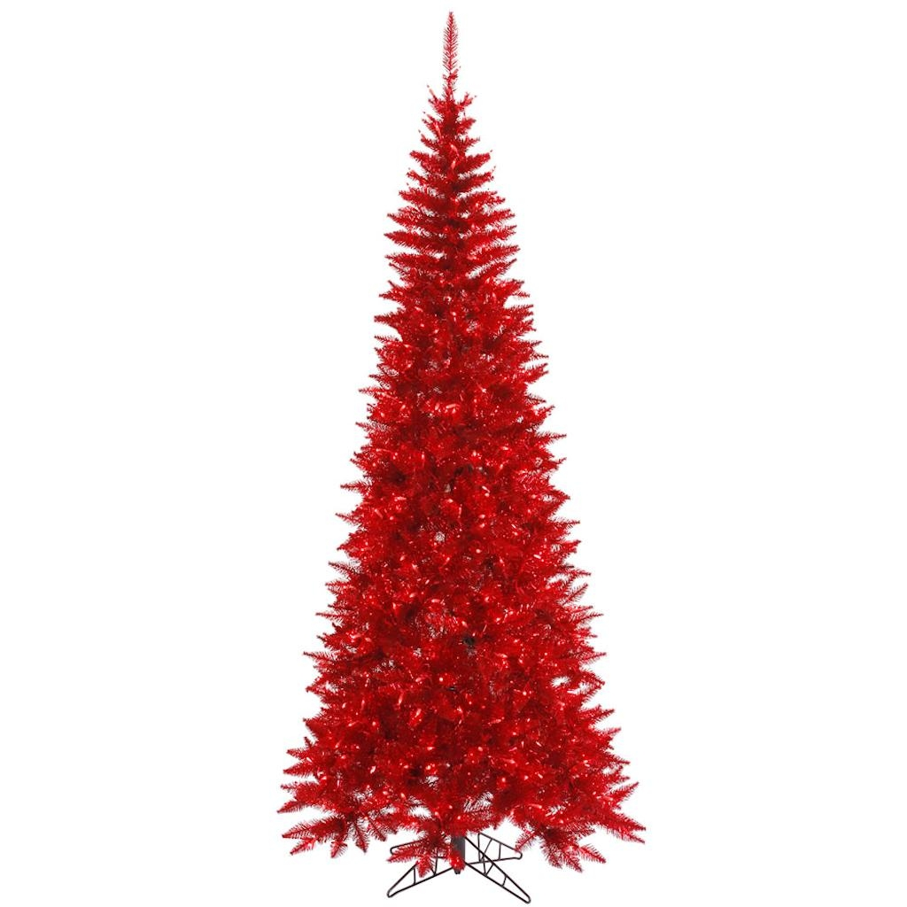 "Vickerman 436493 - 6.5' x 34"" Tinsel Red Tree with 400 Red Lights Christmas Tree (K165066)"