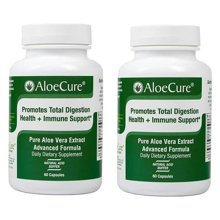 Healing Digestive Tract (AloeCure Pure Aloe Caps for Acid Reflux, Healthy Digestive System, Immune Support, Natural Healing - 60 caps - 2-Pack)
