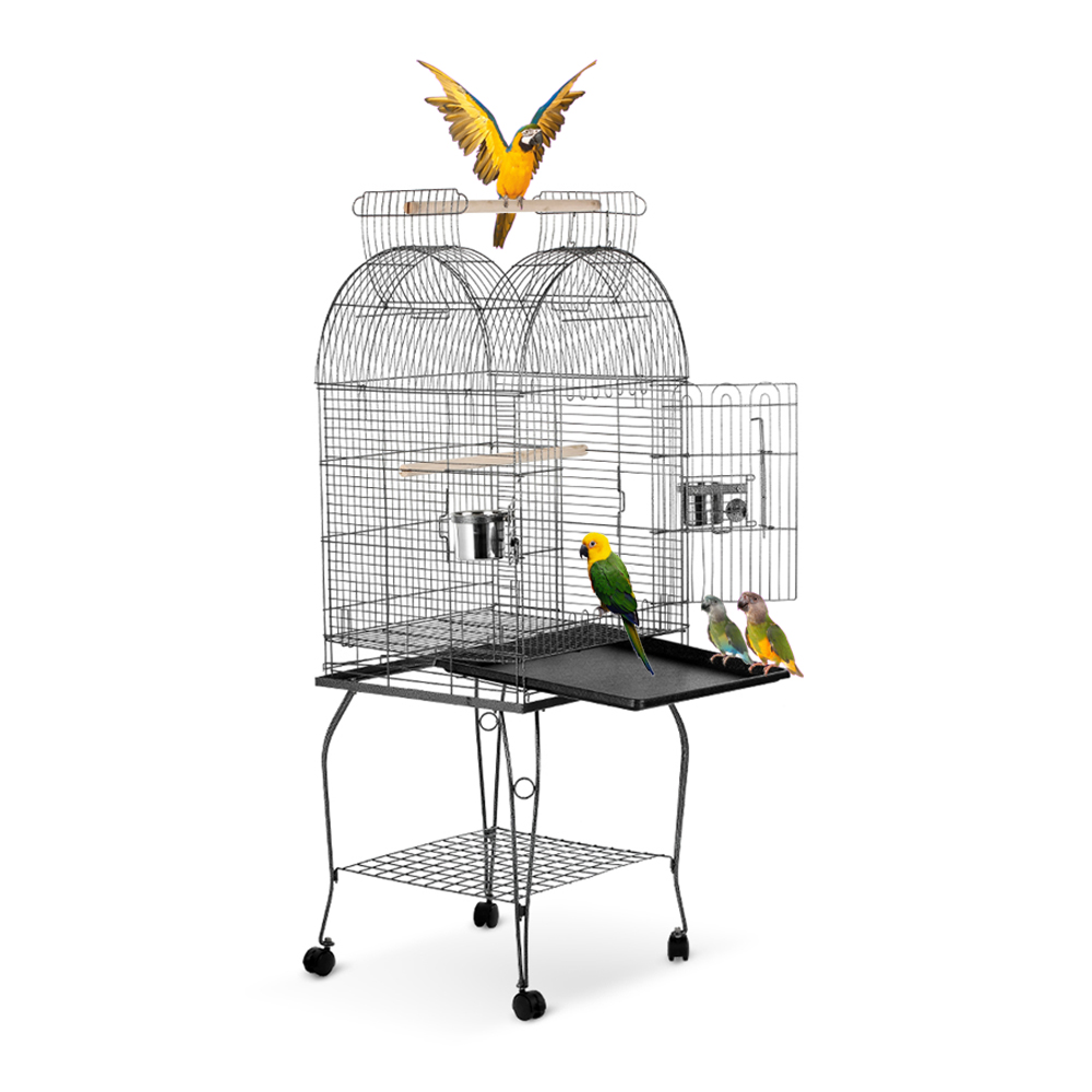 iKayaa Wrounght Iron Bird Parrot Cage Play Top Macaw Cockatoo Parakeet Conure Finch Cage