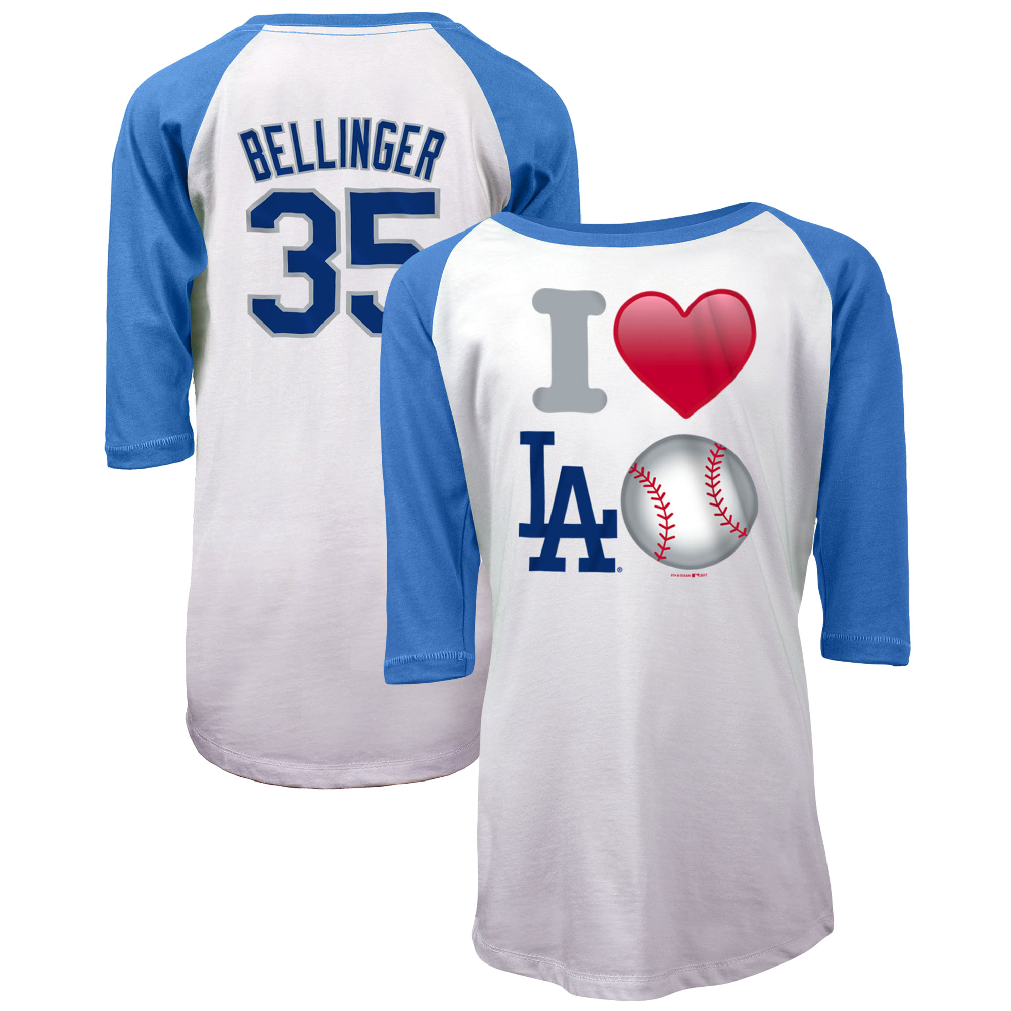 Cody Bellinger Los Angeles Dodgers 5th & Ocean by New Era Girls Youth Emoji Love Player Raglan Three-Quarter Sleeve T-Shirt - White/Royal