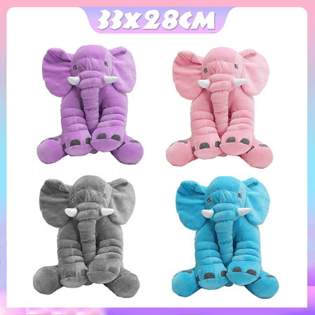 Soft Stuffed Plush Elephant Sleep Pillow Baby Kids Lumbar Cushion Lovely Cute Children Doll Toys Birthday Gift for Toddler Infant Kids - Kids Elephant