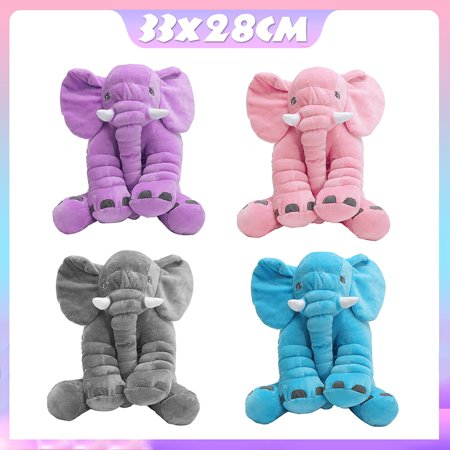 Soft Stuffed Plush Elephant Sleep Pillow Baby Kids Lumbar Cushion Lovely Cute Children Doll Toys Birthday Gift for Toddler Infant Kids Gift