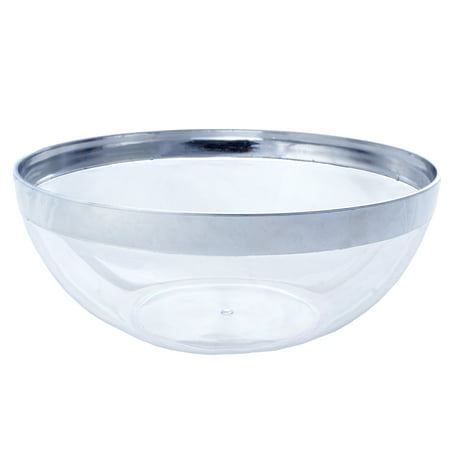 BalsaCircle 4 pcs 32 oz Silver Disposable Rimmed Clear Plastic Bowls for Wedding Reception Party Buffet Catering Tableware