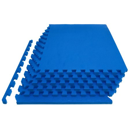 ProsourceFit Extra Thick Puzzle Exercise Mat, EVA Foam Interlocking Tiles for Protective, Cushioned Workout Flooring for Home and Gym Equipment, Blue