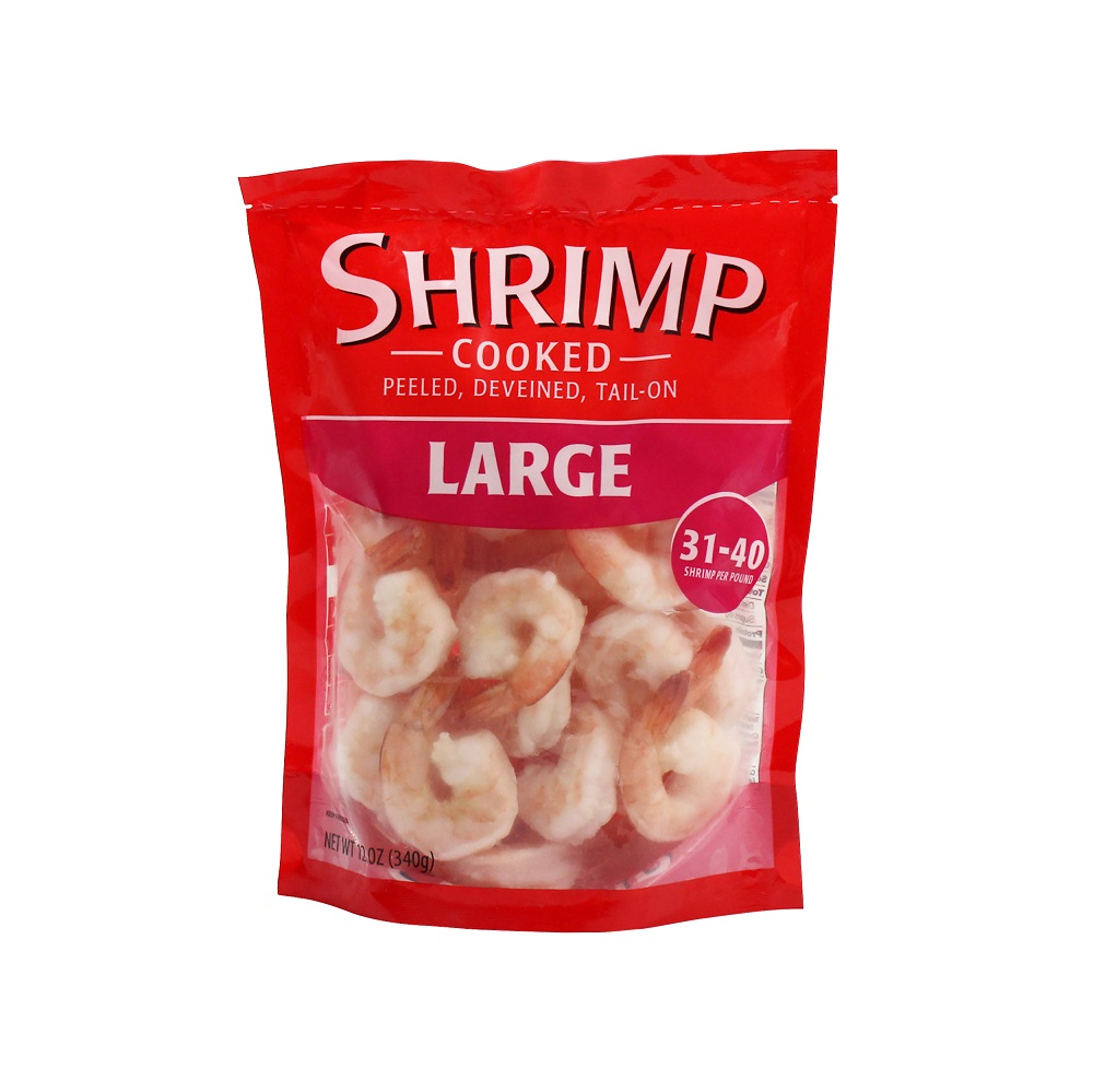 Large Frozen Cooked Tail-On Shrimp 31-40ct