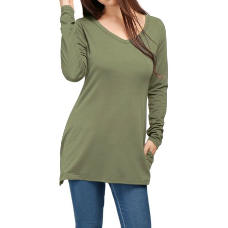 Unique Bargains Womens V Neck Long Sleeves Side Split Tunic Top W Pockets Green  Size M   8
