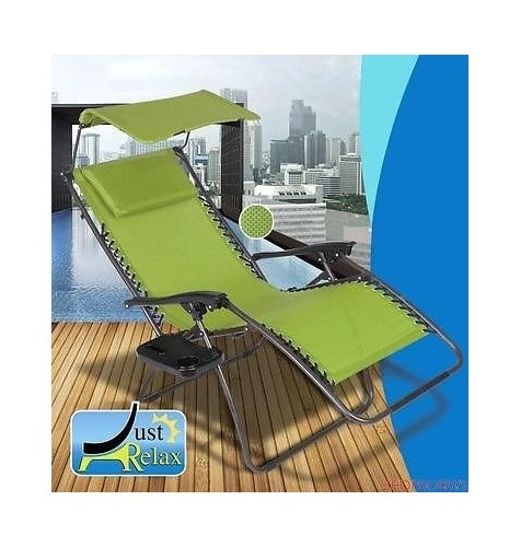 Just Relax Zero Gravity Chair With Pillow, Canopy, And Clip-On Table, Green