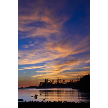 Canada, British Columbia Vancouver Island, Ucluelet, West Coast, Kayak at Sunset Print Wall Art By Christian Heeb ()