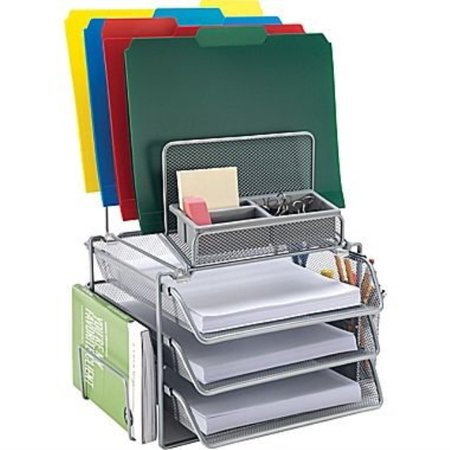 Tremendous Staples All In One Silver Wire Mesh Desk Organizer 27642 Home Remodeling Inspirations Cosmcuboardxyz