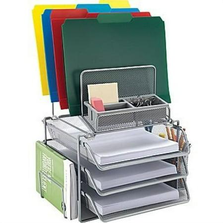 Staples All-in-One Silver Wire Mesh Desk Organizer (27642)