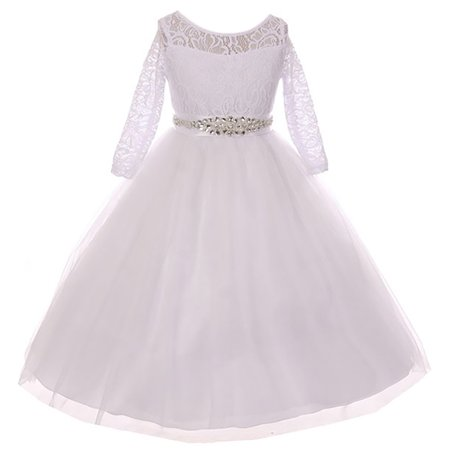 Little Girl Formal Communion Wedding Bridesmaid Party Girl Dress USA White 2 MBK 372 BNY Corner