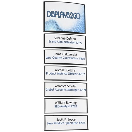 Displays2go WCSBK85S6 Office Wall Directory Signs, 7 Panels, Adhesive Install with Snap Out Lens