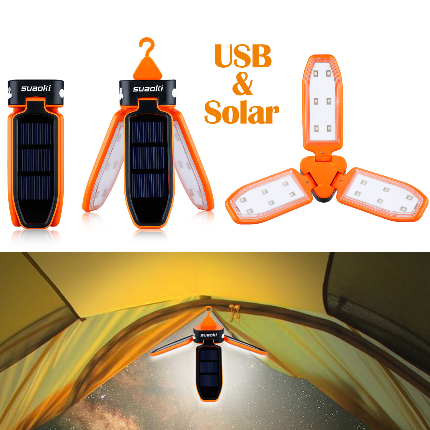Suaoki Outdoor Solar Lights, Collapsible Tent LED Light Rechargeable USB & Three Individual Solar Panels Lantern Emergency for Traveling, Camping, Hiking, Fishing