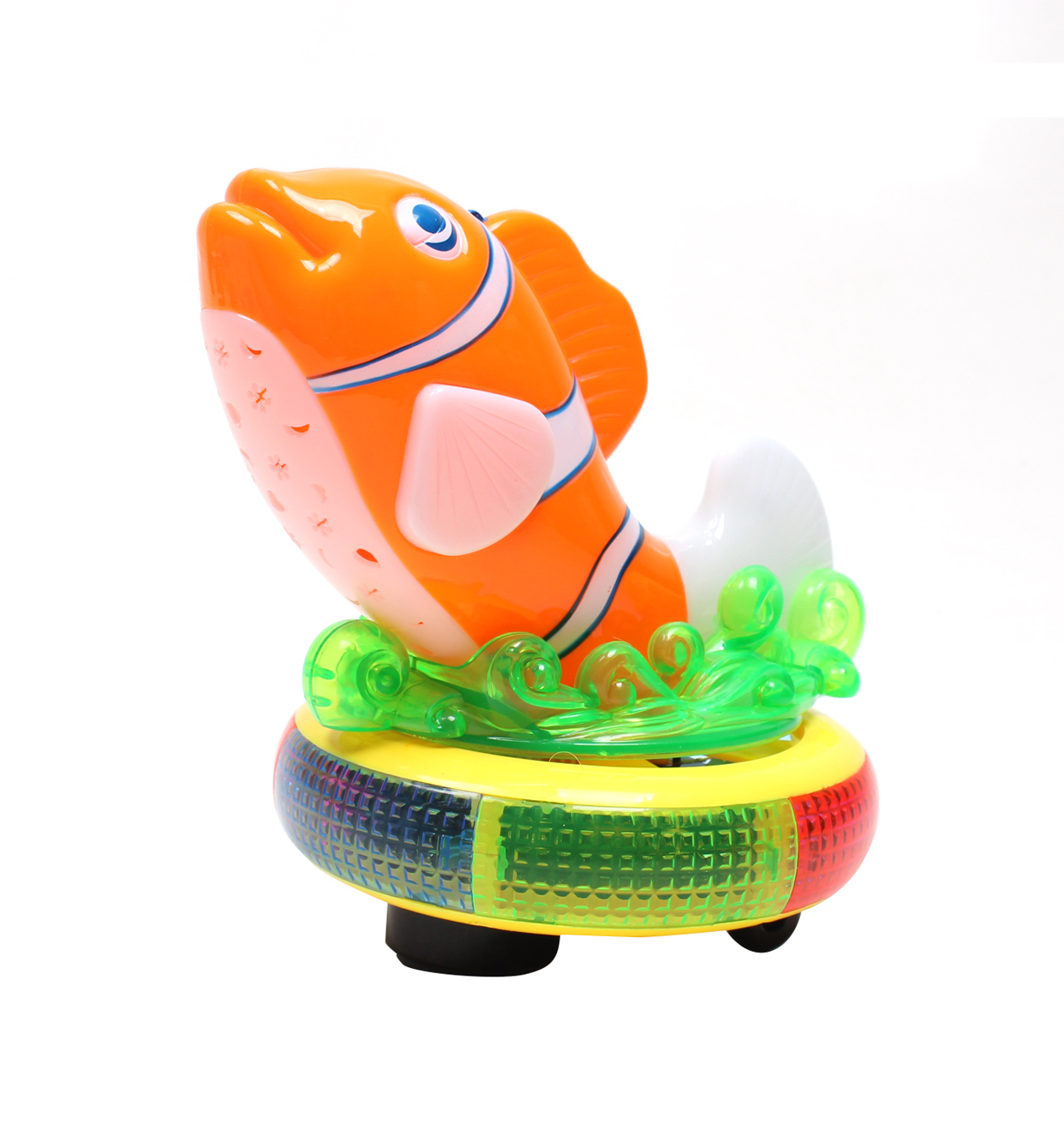 WonderPlay  Finley the Fish Bump and Go Clown Fish Equipped with Lights and Music - Orange