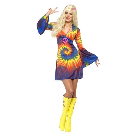 Smiffy's Women's 1960's Tie Dye Dress (Costume 1950's Era)