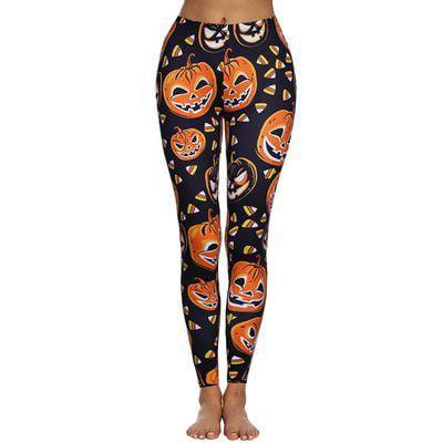 Yves Halloween Woman's Pumpkin Print Black Yoga Pants Fitness Pants Skinny Leggings](Halloween Music For Yoga)