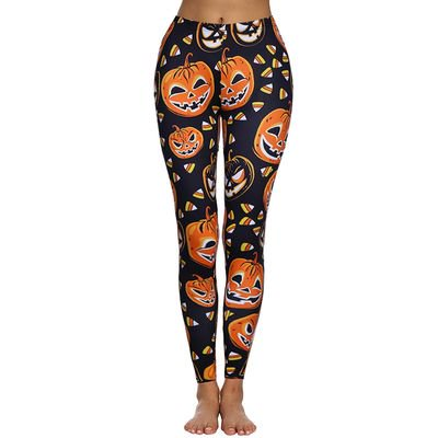 Yves Halloween Woman's Pumpkin Print Black Yoga Pants Fitness Pants Skinny (Halloween Leggings)