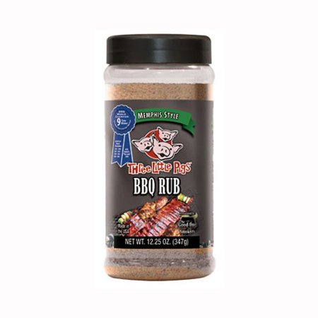 Three Little Pigs Memphis Style BBQ Rub LARGE 12.5 Oz This Memphis Style blend delivers a distinctive flavor with its combination of fresh ground black, white and red pepper, coarse kosher salt and sugar, topped off with a hit of Worcestershire powder and other spices. With just a bit of sugar in the blend, this BBQ rub works GREAT over any meat cooked on hot grills or smokers.