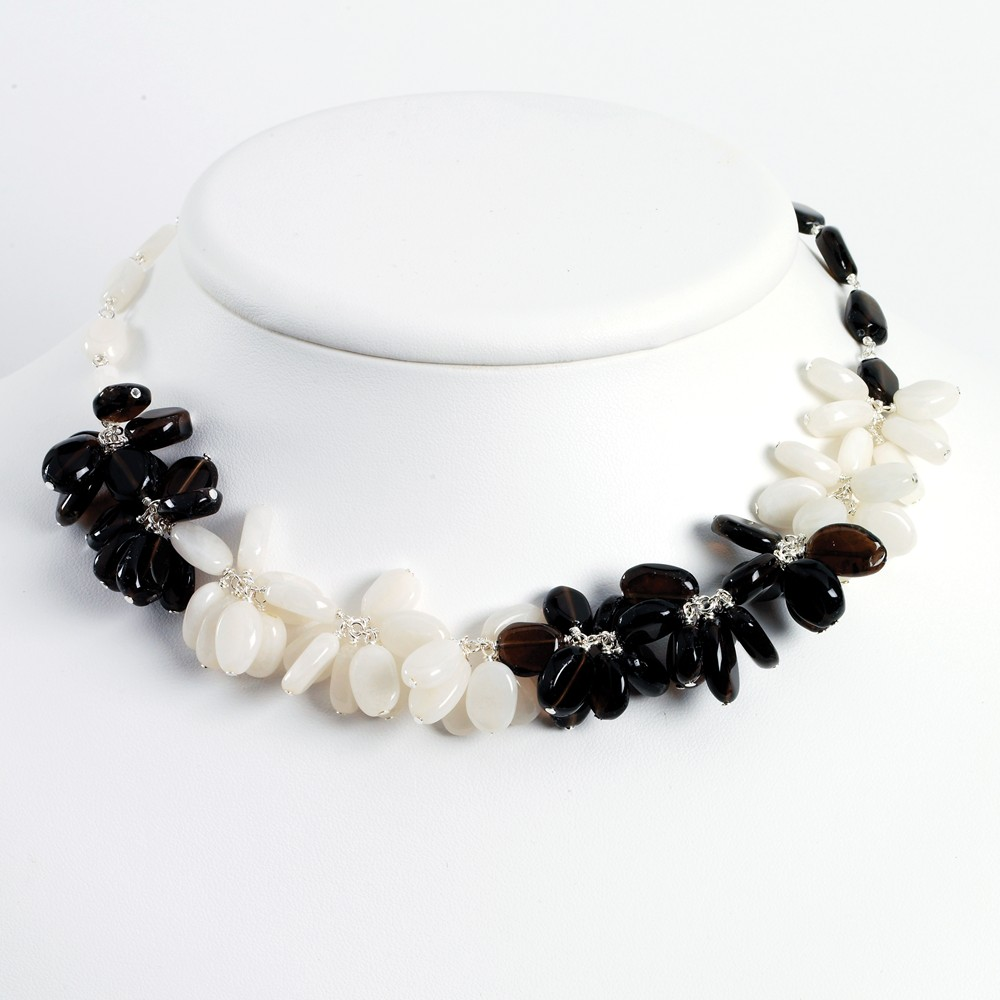 Sterling Silver 16in Smokey Quartz & White Jade Necklace