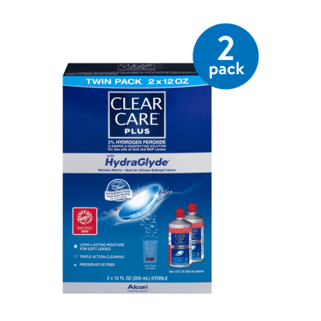 (2 Pack) Clear Care Plus With HydraGlyde Clean & Disanfecting Solution Twin Pack - 2 PK, 12.0 FL OZ