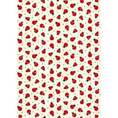 Rainbow Wall Lady Bug Fabric, Red