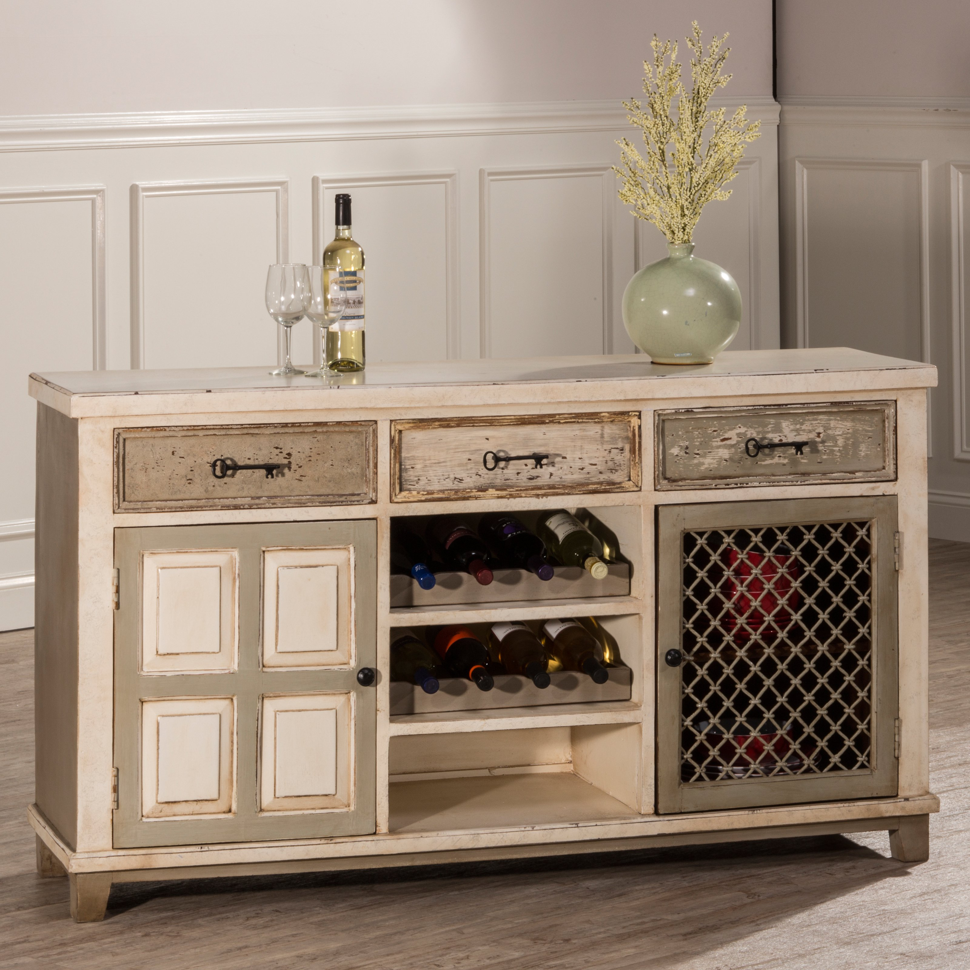 Hillsdale LaRose Console Table With Two Door Storage And Wine Rack    Walmart.com