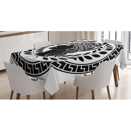 Toga Party Tablecloth, Roman Elegance Beauty Muse Portrait Patrician Woman Old Fashion Aesthetic Icon, Rectangular Table Cover for Dining Room Kitchen, 52 X 70 Inches, Black White, by Ambesonne (Toga Women)