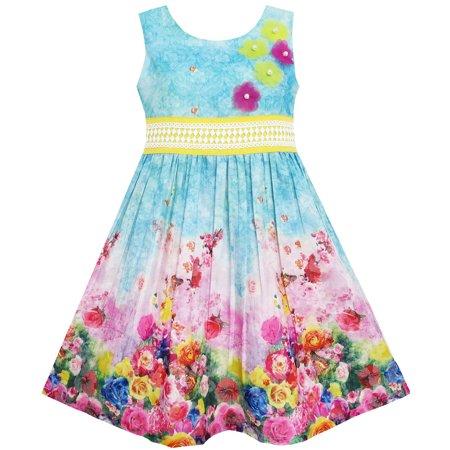 Sunny Fashion Girls Dress Blooming Rose Garden Flower Print Sleeveless Blue Size 4 12