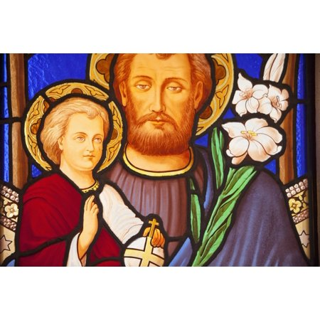Stuart Stained Glass Print (Buenos Aires Argentina A Stained Glass Window Depicting Jesus And A Child In Recoleta Cemetery Poster Print by Stuart Westmorland  Design Pics)