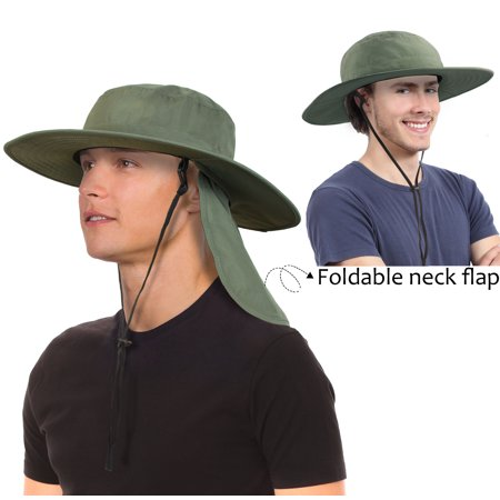 162ff894acfeb Unisex Fishing Hat with Foldable Neck Flap Cover Wide Brim Sun UV  Protection Hiking Safari Bucket Cap for Bug Free - Walmart.com
