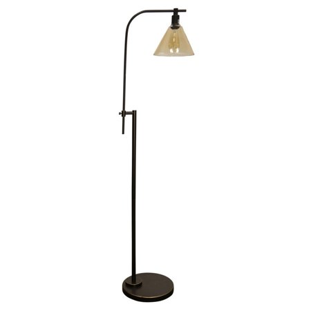 Stylecraft Bronze Adjustable Height Task Floor Reading Lamp With Glass Shade Walmart Com
